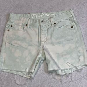 Mint and bleach stain Madewell shorts